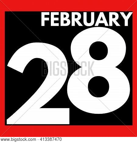 February 28 . Modern Daily Calendar Icon .date ,day, Month .calendar For The Month Of February