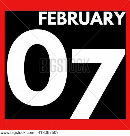 February 7 . Modern Daily Calendar Icon .date ,day, Month .calendar For The Month Of February