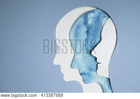 Mental Health Disorder Concept. Bipolar Disorder Person. Unstable Psycho. Layers Of Paper Cut As Hum