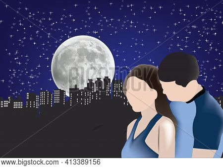 Couple Of Lovers In The Moonlight Couple Of Lovers In The Moonlight