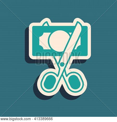 Green Scissors Cutting Money Icon Isolated On Green Background. Price, Cost Reduction Or Price Reduc