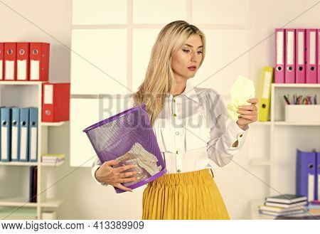 Paper Recycling. Lost Documents. Crumpled Paper In Basket. Woman Digging In Garbage Bin. Businesswom
