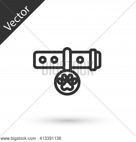 Grey Line Collar With Name Tag Icon Isolated On White Background. Supplies For Domestic Animal. Dog