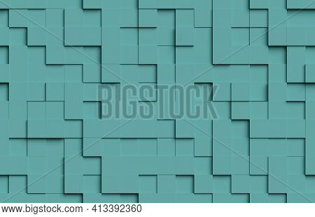 Seamless Abstract Pattern. Green Cubic Shapes Background. 3d Illustration.