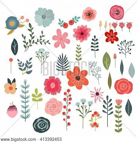 Set Of Flowers And Floral Elements Isolated On White Background. Beautiful Floral Elements For Your