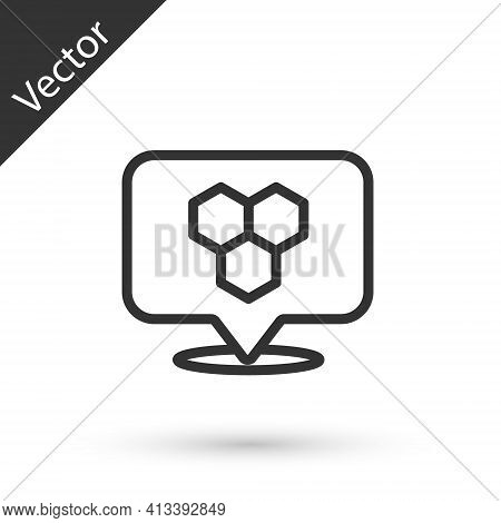 Grey Line Honeycomb Bee Location Map Pin Pointer Icon Isolated On White Background. Farm Animal Map
