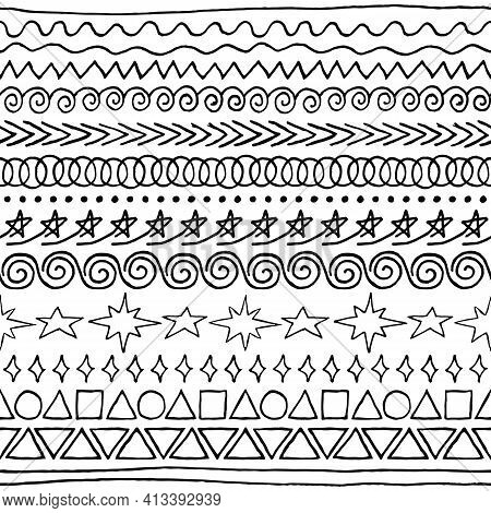 Vector Set Of Sloppy Ink-drawn Seamless Brushes. Jagged Rough Drawn Black Scribbles Of Dividing Stra