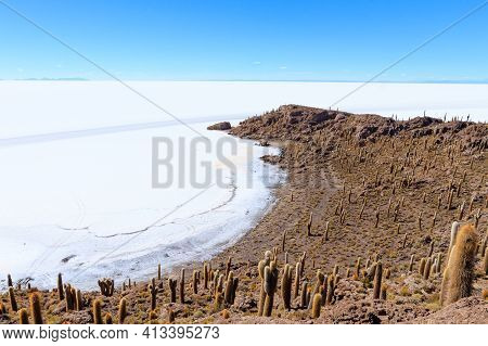 Salar De Uyuni View From Incahuasi Island, Bolivia. Largest Salt Flat In The World. Bolivian Landsca