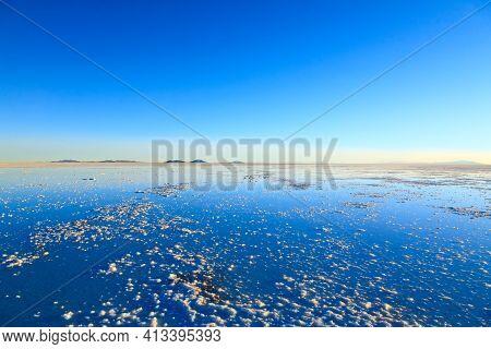 Salar De Uyuni, Bolivia. Largest Salt Flat In The World. Bolivian Landscape