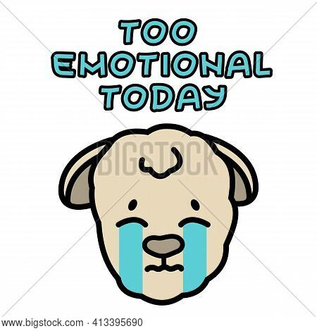 Vector Isolated Beige Muzzle Sheep Has Crying Emotion, Is Upset, Distressed, Unable To Cope With Emo