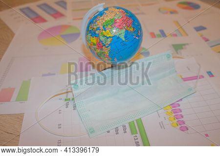 Virus, Quarantine. Pattern Of Medical Mask And Globe. Pandemia Of Coronavirus Infection.