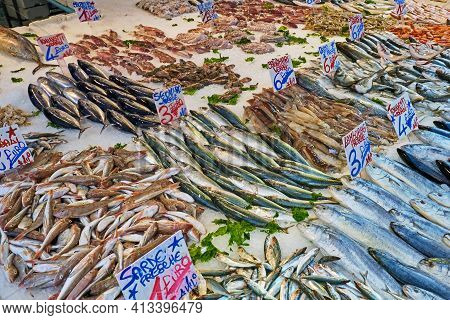 Great Selection Of Fish And Seafood For Sale At A Market