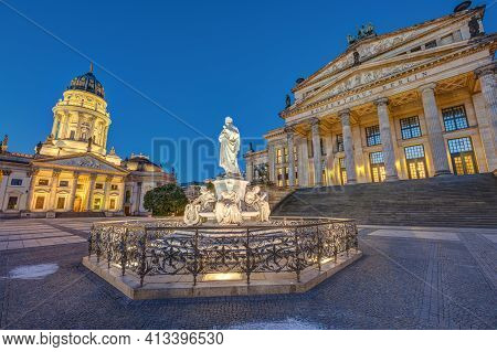 The Gendarmenmarkt Square In Berlin With The Monument To Schiller At Dawn With No People