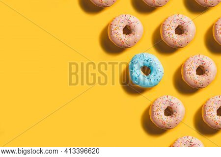 Doughnut Pattern Banner With Blue Donut Accent