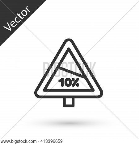 Grey Line Steep Ascent And Steep Descent Warning Road Icon Isolated On White Background. Traffic Rul