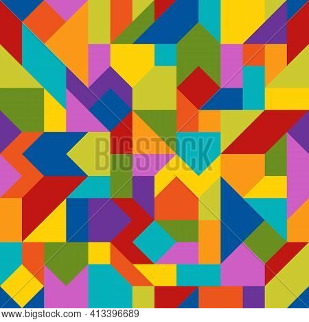 Abstract Geometric Colorful Seamless Pattern Of Angled Figures. Bright Continuous Background Of Chee