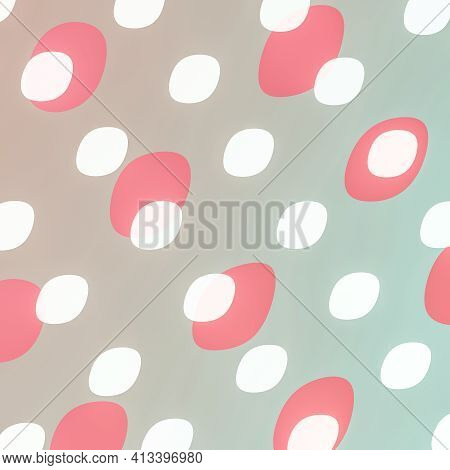 Beautiful Feminine Background Of White And Pink Spots On Gray And Blue. Delicate Polka Dot Pattern F