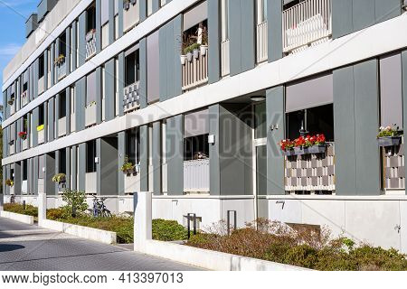 Modern Row Apartment Houses Seen In Berlin, Germany