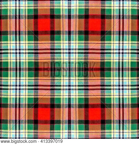 Beautiful Seamless Noble Tartan Multicolors Green, Red, Yellow, Black And White Colors.  Abstract Cl