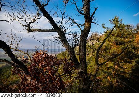 Herald's Viewpoint, Autumn Sandstone Landscape Of Bohemian Paradise In Sunny Day, Winter At Rock For
