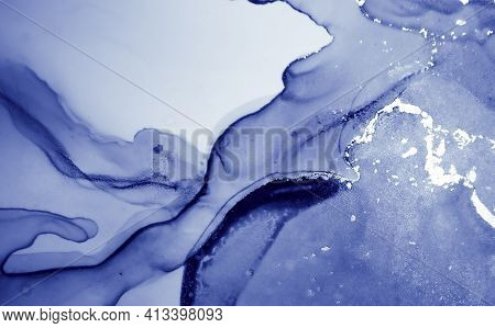Snow Ink Paint. Art Flow Illustration. Blue Liquid Effect. Ink Painting. Ethereal Acrylic Splash. Oc