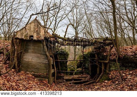 Old Abandoned Hut In Forest, Wooden Building, Rotten Floor And Collapsed Roof, Hut Made Of Sticks An