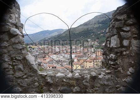 Itri Overview From Heart Shaped Fence Of The Historic Town In The Region Of South Lazio, Italy