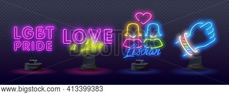 Pride Neon Text Vector Design Template. Lgbt Neon Icons, Light Banner Design. Lgbt Pride Symbols Neo