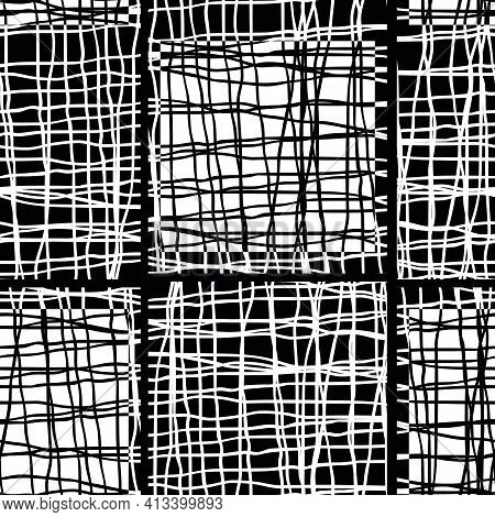 Irregular Vector Gauze Weave Effect Striped Seamless Pattern Background. Backdrop Of Black And White