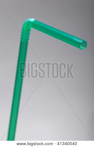 Green Straw On Grey Background With A Shallow Dof