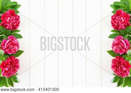 Banner Or Postcard With Pink Peony Flowers On White Wooden Background. Greeting сard Or Mockup With