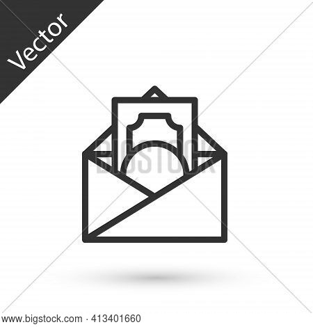 Grey Line Envelope With Coin Dollar Symbol Icon Isolated On White Background. Salary Increase, Money