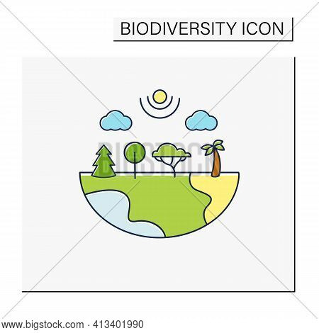 Species Diversity Color Icon.describe Diversity Of Living Species. Included Insects, Animals, Plants