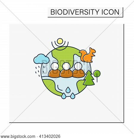 Humans And Ecosystem Color Icon.people Impact Ecosystem. Protection Flora, Fauna. Saving Animals, Pl