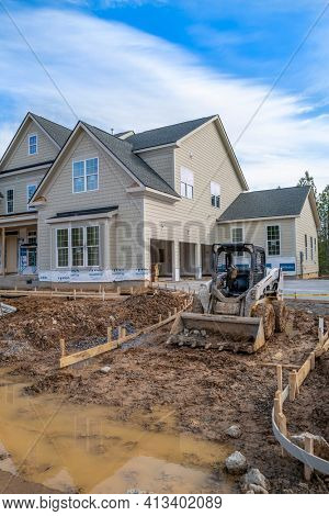 Apex, NC, USA; 20th March 2021: New house construction in the booming economic growth area of North Carolina.