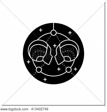 Gemini Glyph Icon. Third Fire Sign In Zodiac. Horoscope Twins. Mystic Horoscope Sign. Astrological S