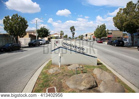 March 12, 2021 - Montebello, California: City of Montebello Sign. Sign Placard with the city name of Montebello. Leaving Montebello Sign.
