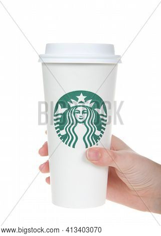 Alameda, Ca - Mar 7, 2021: Young Caucasian Hand Holding Starbucks Cup, Venti Large, Isolated On Whit