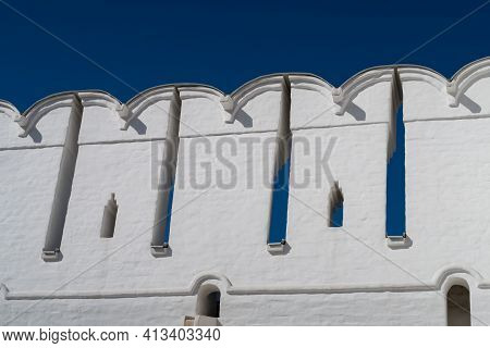 Battlements And Narrow Loopholes Of The White-stone Defensive Wall Of The Novodevichy Convent, Mosco