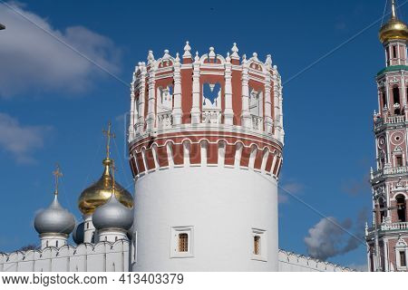 Openwork Balaya With A Red Defensive Tower Against The Background Of The Domes Of The Smolensk Cathe