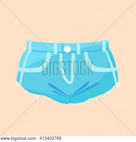 Blue Denim Women's Shorts, Fashionable Short Denim Shorts With Torn Edges, Vector Clip Art On A Colo