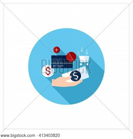 Use Cash Flat Icon. Pay Purchases In Cash. Hand Holds Money. Dont Use Credit Card.mindful Spending C