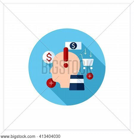 Mindful Spending Flat Icon. Thoughtful Shopping. Necessary Purchases. Profitable Investment. Thought