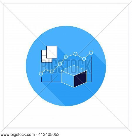 Predictive Modeling Flat Icon. Process That Uses Data And Statistics To Predict Outcomes With Data M