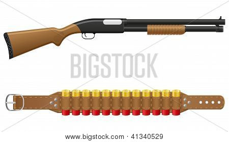 Shotgun And Shells In Bandoliers Vector Illustration