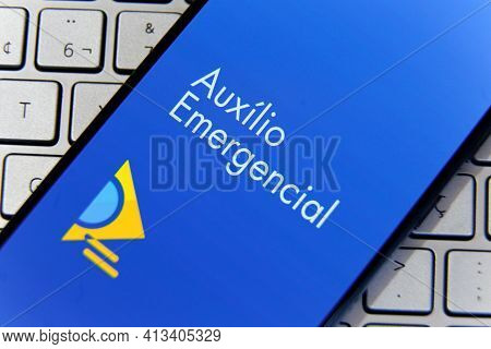 Minas Gerais, Brazil - March 20, 2021: Screen Of The Auxilio Emergencial Application Of The Federal