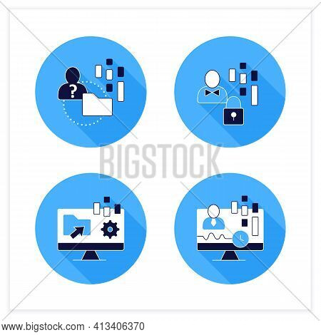 Customer Data Platform Flat Icons Set. Real-time Client, Anonymous, Customer Data Concepts. Vector I