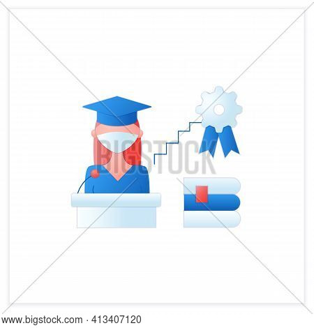 Academic Career Flat Icon. Personal Growth. Motivation Speech. Work At University. Professor Career.