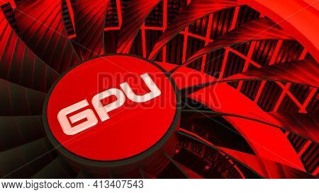 3D Model Of A Cooler With Neon Illumination Close-up. Gpu Adapter. 3D Render Illustration