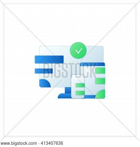 Cross Platform Design Flat Icon. Website Design. Icons, Appearance, Labels. Creating On Laptop. Digi